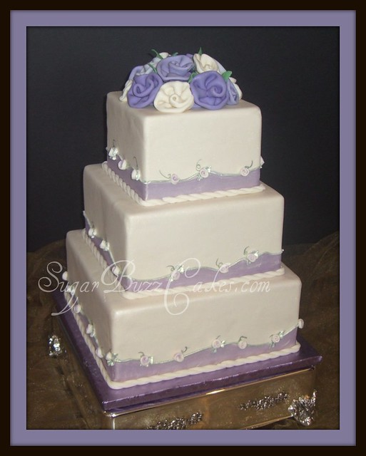 purple ivory wedding cake