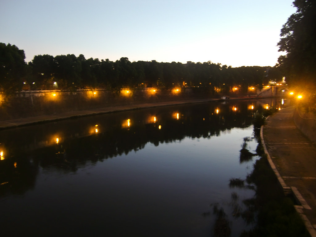The river Tiber in Rome after sunset