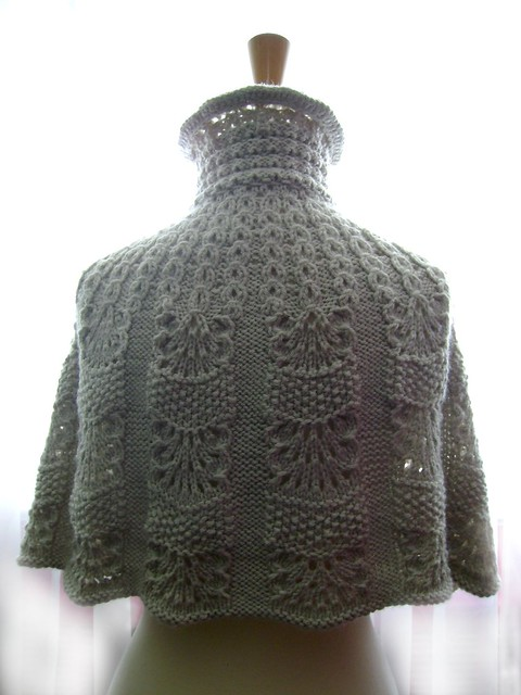 Knitting Pattern For A Cape : Knitted capelet / cape / poncho in a shade of light linen 2 Flickr - Photo ...