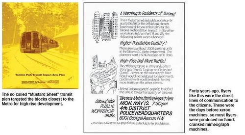 "Images of a protest flyer and the cover of a station area plan for the Takoma subway station from the article ""Call to Arms: Activists defend a community under seige"" by Diana Kohn, in the May 2009 issue of the Takoma Voice."