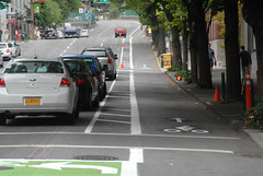 Cycletrack on SW Broadway-7