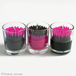 Spikey pink & black candles