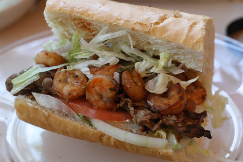 Roast beef and shrimp po-boy = awesome