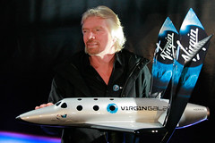 Sir Richard Branson with model of SpaceShipTwo