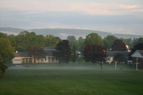sunset mist rain fog town sundown pa hughesville