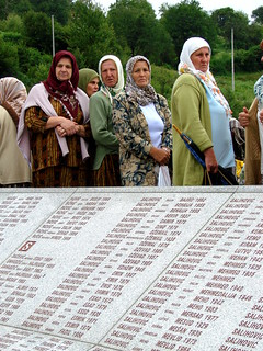 Srebrenica Massacre - Reinterment and Memorial Ceremony - July 2007 - Women and Monument