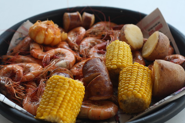 shrimp boil with sausage, corn, potato,and garlic | Flickr - Photo ...
