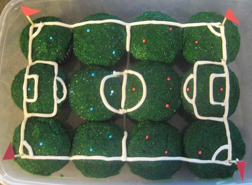 Soccer Field Cupcakes