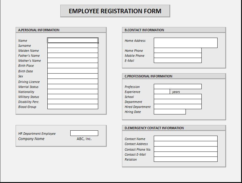 Employee Registration Form
