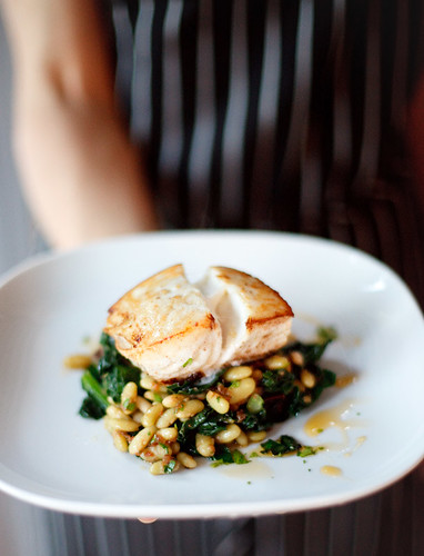 halibut with flageolet beans