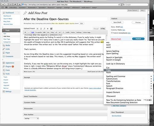 Mac OS X spellchecker