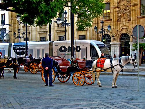 Tranvía o caballo