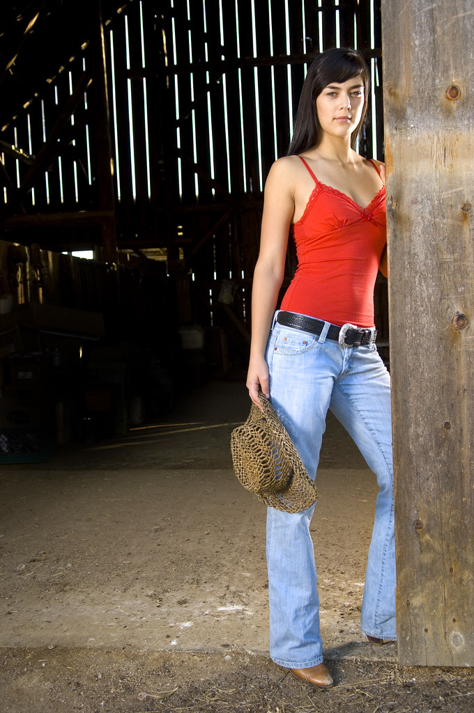 Cowgirl In Barn Doorway 2 Flashes Used Here One Full