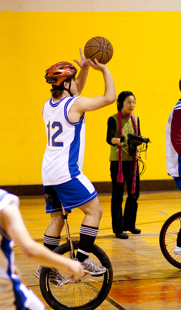 Berkeley Revolution Unicycle Basketball exhibition game in Berkeley