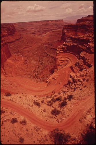 Road Follows the Twists and Turns of Island in the Sky, a Mesa in the Northern Section of the Canyonlands, 05/1972
