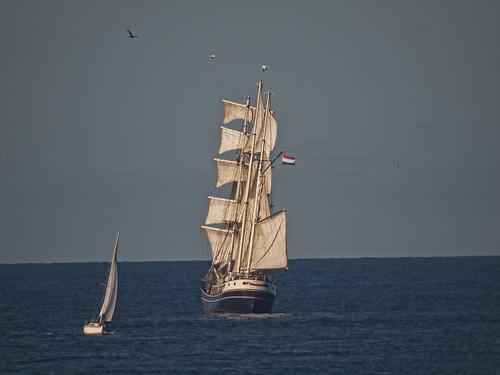 sunset geotagged boat sailing ship sails tallship alderney mirrorlens geo:lat=49723627 geo:lon=2199912