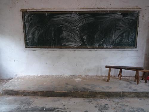 Chalkboard In Empty Classroom Jiang Bian Primary School