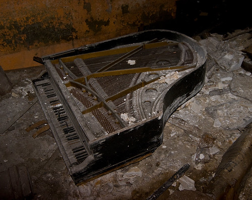 abandoned ruins theater piano grand palace