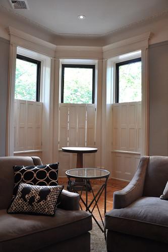 See no evil living room window treatments brooklyn for Living room no windows