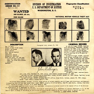 [Recto] Wanted poster: John Dillinger, published by U.S. Department of Justice