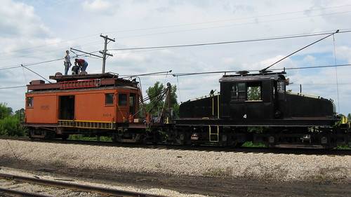 Maintaining the overhead trolley wire. The Illinois Railway Museum. Union Illinois. Friday, July 3rd 2009. by Eddie from Chicago