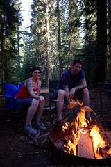rachel and jeff roasting salmon on an open fire    M…