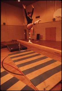 Young Gymnast Trains in the Gymnasium of the Turner Club in New Ulm, Minnesota ..., 10/1974