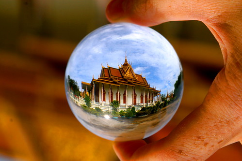poverty street travel blue sunset red orange building water architecture children asia cambodia khmer poor sphere torture refraction phnompenh phnom crystalball s21 tuolsleng phnonpenh silverpagoda abigfave earthasia keesstraver