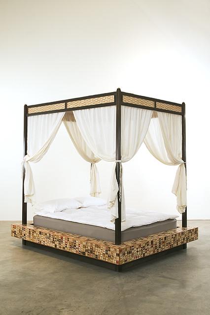 Queen Sleigh Bed Bedroom Set Dark Wood Dresser Night Stand