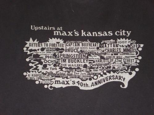 Max's Kansas City 40th Anniversary t-shirt (Close-up)