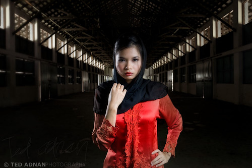 Lady in Red with the Black Scarves in an abandoned warehouse...