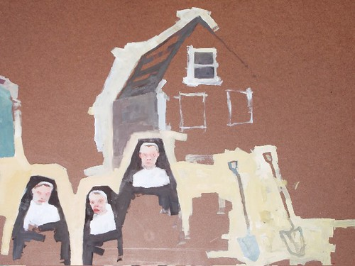 Nuns, House, and Shovel