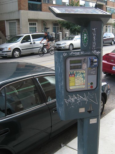 Solar powered Toronto parking machine, Canada