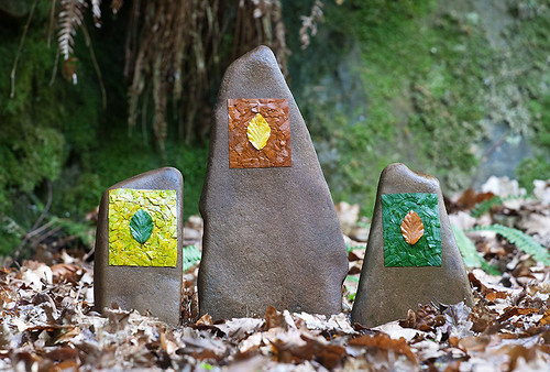 3 Autumn Beech Leaf Stones