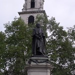 statue of William Gladstone outside the church of St Clement Danes