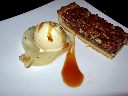 Pecan tart, honey-thyme roasted pears, butterscotch gelato