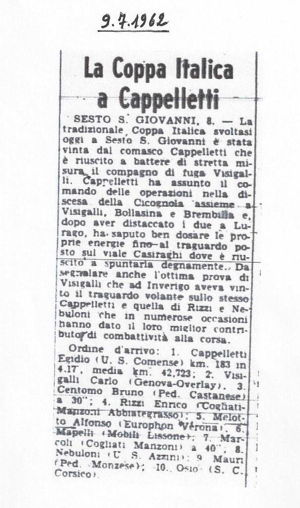 La Coppa Italica 1962 a Cappelletti Egidio (Gazzetta dello Sport del 9.7.1962) - materiale inviato da Nello Locarno