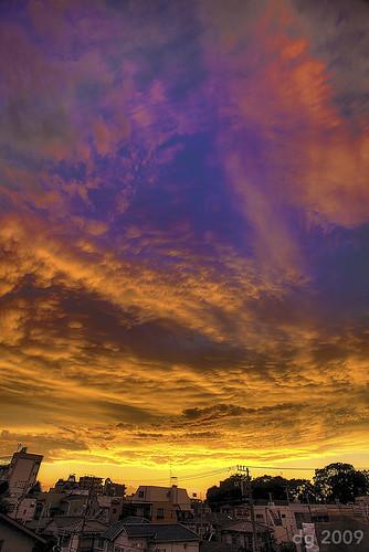 sunset sky sun detail japan clouds photoshop canon fire tokyo evening asia horizon wide explore 1740mm hdr 3xp photomatix tonemapped explored enhancer skyascanvas 5dmarkii