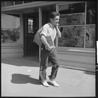 Hayward, California. Youth on Relief. High School Student Carrying Home Surplus Commodities for His Family on Relief
