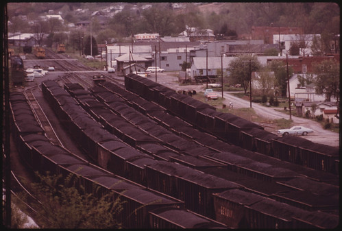 Coal Yard with Loaded Rail Cars Ready to Be Shipped to Customers Out of Danville, West Virginia, near Charleston 04/1974