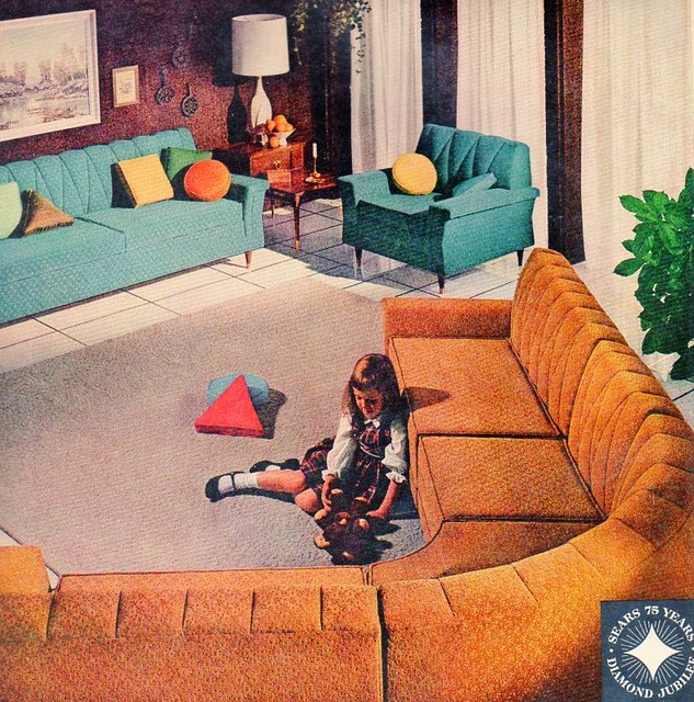 Floor Pillows Sears : 1961 Sears Furniture Celanese acetate ad Flickr - Photo Sharing!