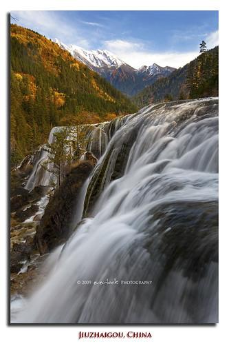 china park autumn mountain color colour fall nature waterfall scenery unesco national pearl sichuan range jiuzhaigou shoals everlook