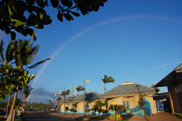 Rainbow above Maui Ocean Center in the Ma'alea Harbor