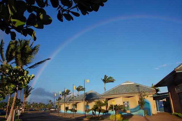 Rainbow above Maui Ocean Center in the Ma'alea Harbor