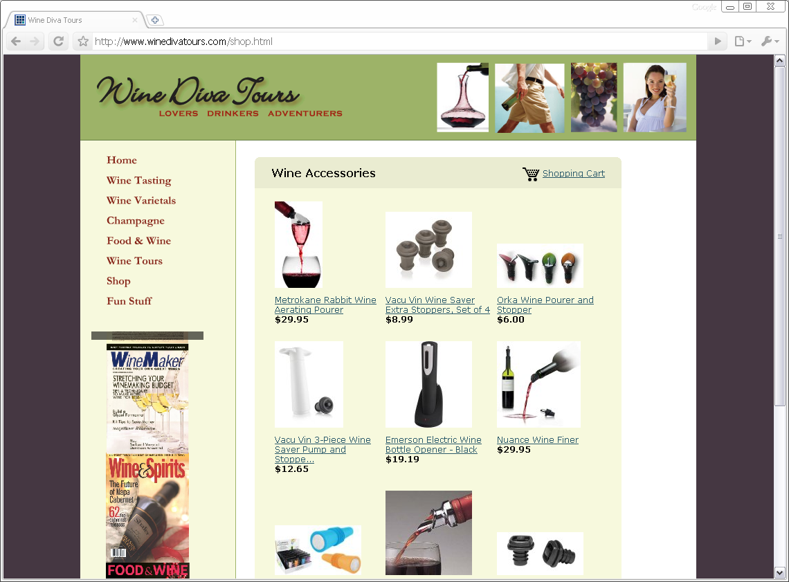 Wine Diva Tours Website
