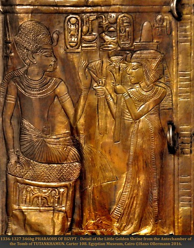 1336-1327 346bk PHARAOHS OF EGYPT - Detail of the Little Golden Shrine from the Antechamber of the Tomb of TUTANKHAMUN. Carter 108. Egyptian Museum, Cairo ©Hans Ollermann 2016.