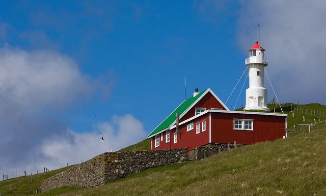 Lighthouse and cottage on Mykineshólmur