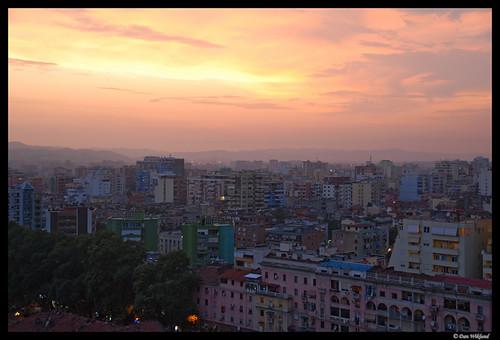 sunset sky orange yellow skyline spring cityscape pollution d200 balkans albania citycenter 2009 citycentre urbanlandscape balkan tirana tirane