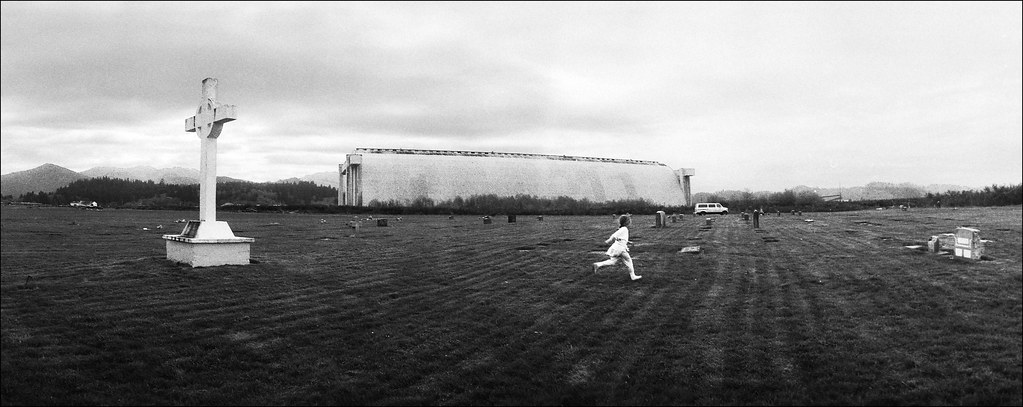 Kim running in the Blimp hangar cemetery