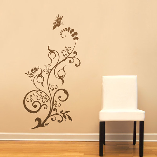 FLORAL FLOURISH Wall Decal Graphic Stickers Decals